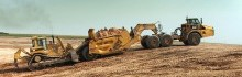 K-Tec 1254 ADT Scraper in Texas USA with CAT D9R Dozer